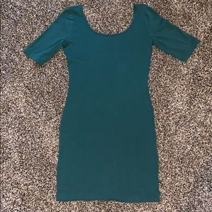 XS fitted dark teal dress, comfortable, & stretchy